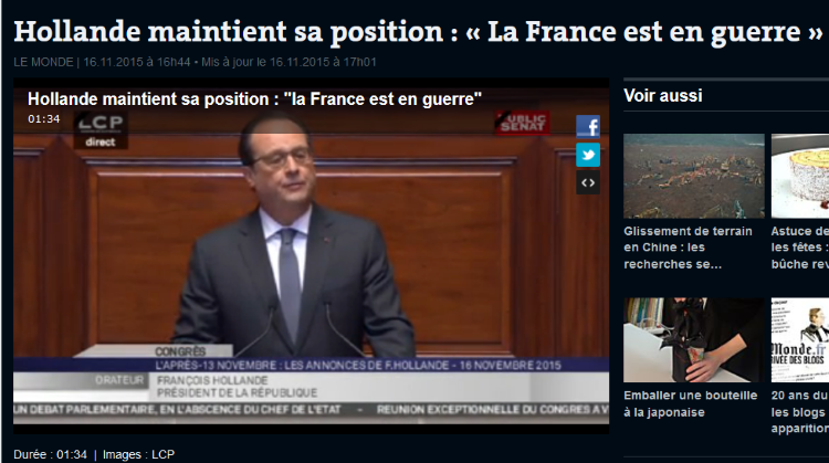 François Hollande maintient sa position : « La France est en guerre »