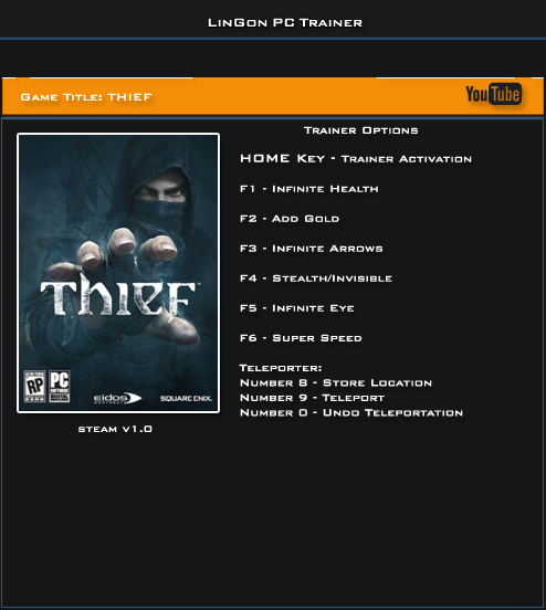 Thief v1.0 x32Bit Trainer +8 [LinGon]