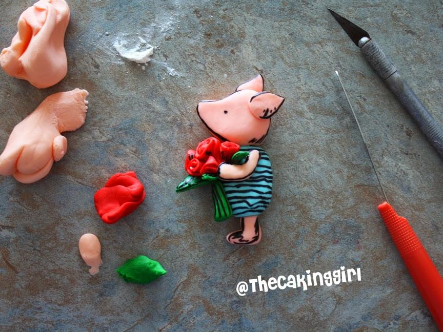 gumpaste edible piglet figurine