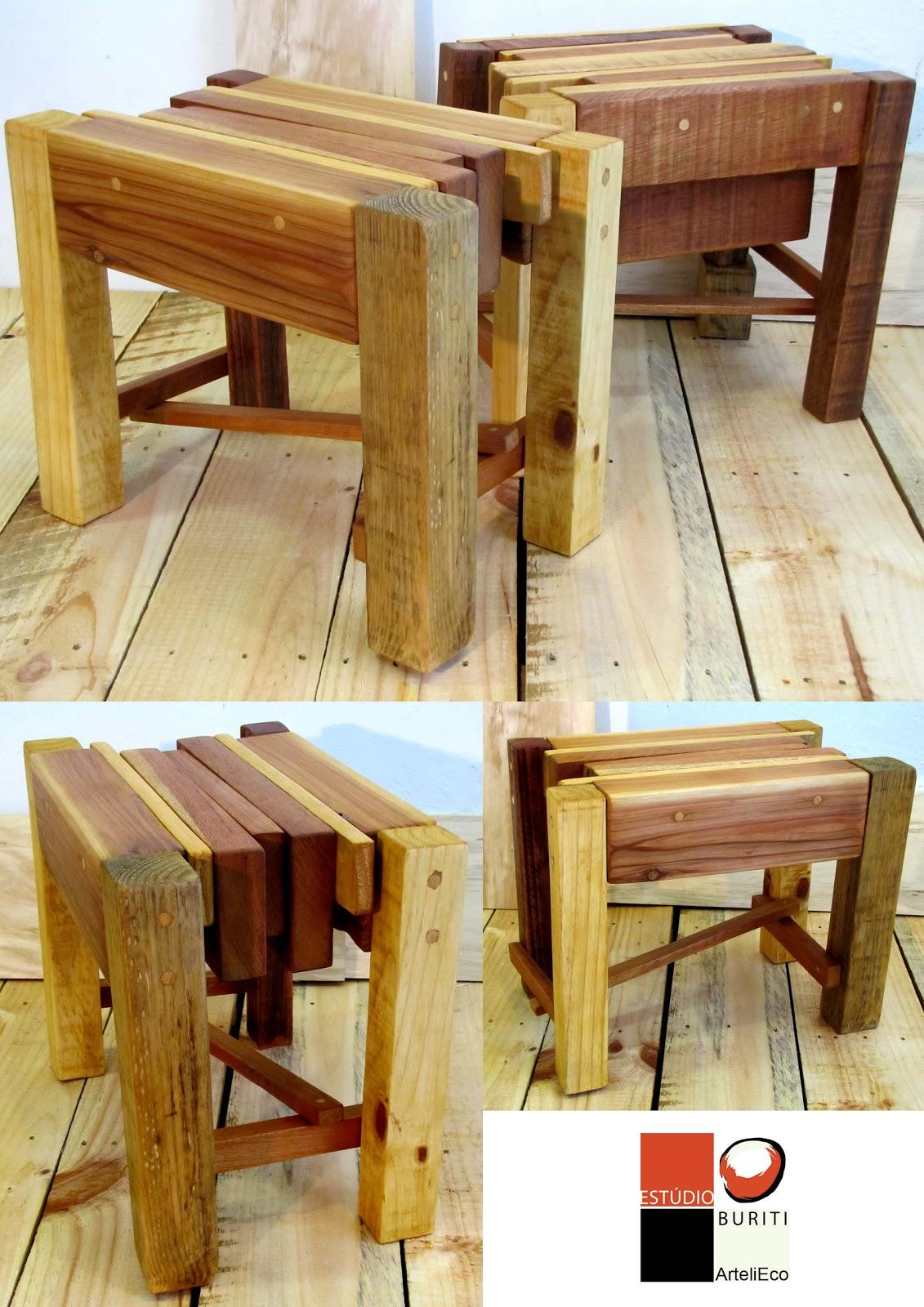 Bancos feitos com madeiras provenientes de refugo industrial pallets e  #AC371F 1131x1600