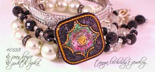 Tanya Lochridge Jewelry Vintage Victorian Czech Glass Button & Faceted Bead Five-Strand Bracelet