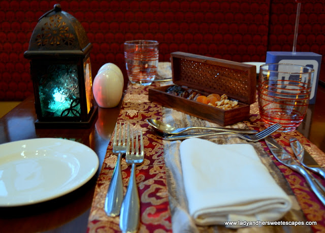 Ramadan table setting at Liwan