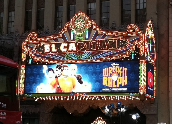 The theater marquee at the El Capitan for Wreck-It Ralph animatedfilmreviews.filminspector.com