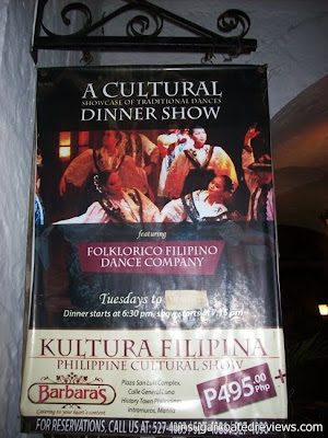 cultural dinner show dances at Barbara's Restaurant Intramuros