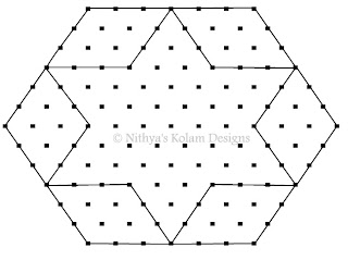2 Rhombus kolam Interlocked dots 15 to 8 dots