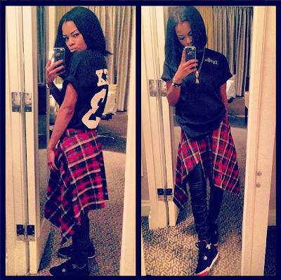 Teyana Taylor checkered shirt
