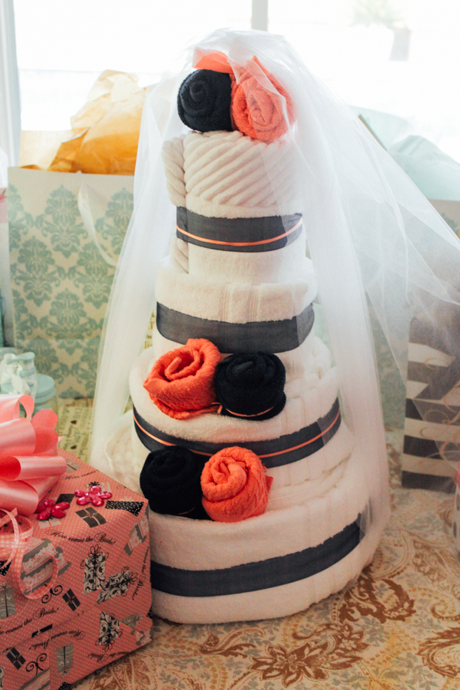 mint and gold bridal shower towel cake bridalshower mintandgold