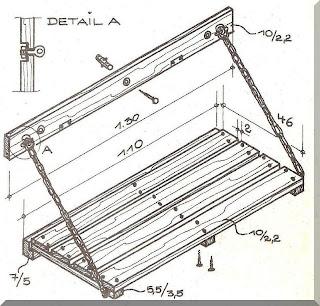 kresba s potřebnými rozměry při sklopení je lavice zajištěná ...