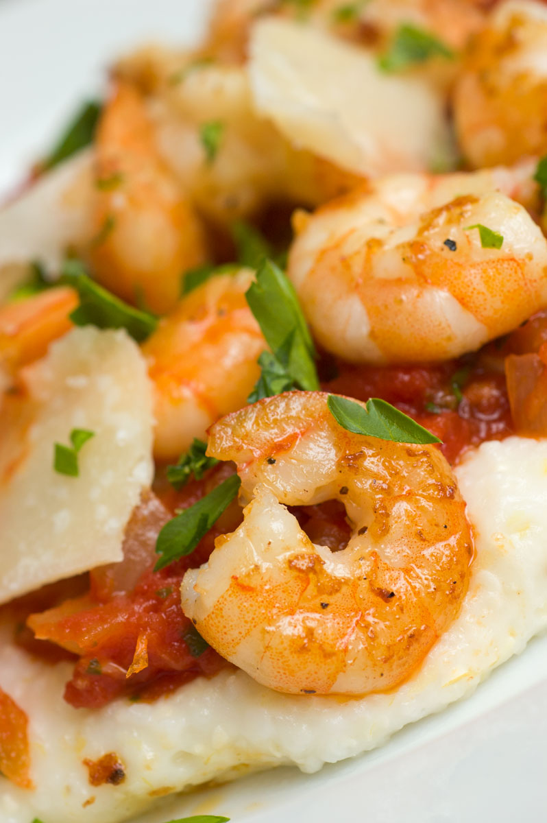 ... : Shrimp with Parmigiano Reggiano Grits & Tomatoes - Virginia Willis