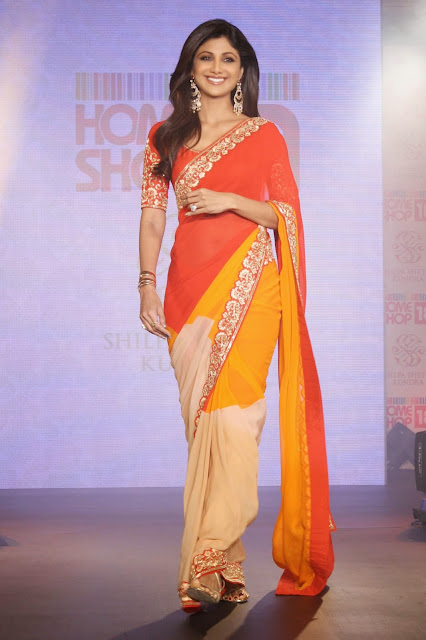 Shilpa Shetty in Desginer Orange Saree on RAMP at SSK Sarees Launch for HomeShop18