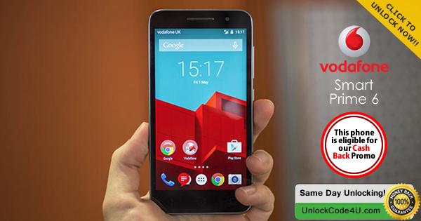 Factory Unlock Code for Alcatel Vodafone Smart Prime 6