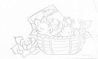 """""""risco de cesta com rosas para pintar"""""""