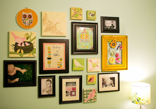 Bright and fun, colorful little girl's room on a budget. Gallery wall featuring a mix of inexpensive art and photography