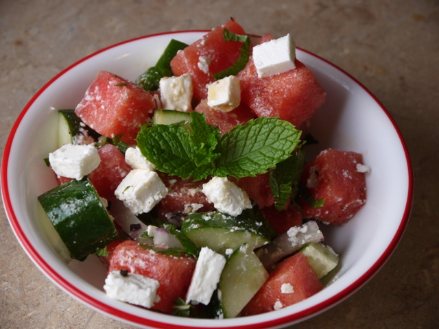 Clockwatching Tart: Watermelon Feta Salad