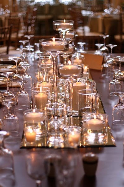 10 tips to create romance with wedding candle reception - Candle and mirror centerpieces ...