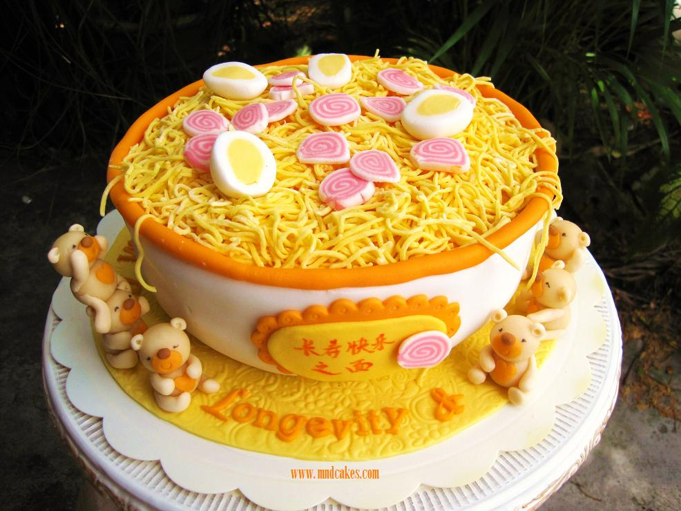 Mom And Daughter Cakes Longevity Noodle Birthday Cake For A 80