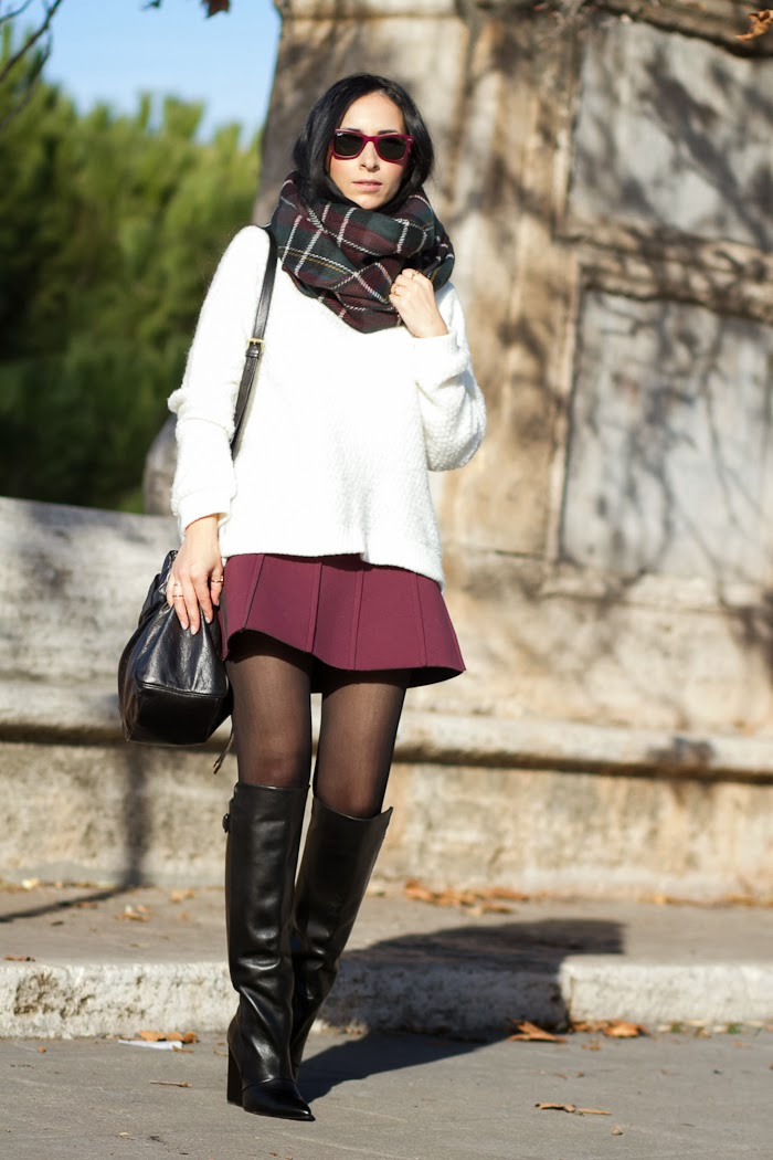 Winter look Burgundy mini skirt with maxi boots by Zara