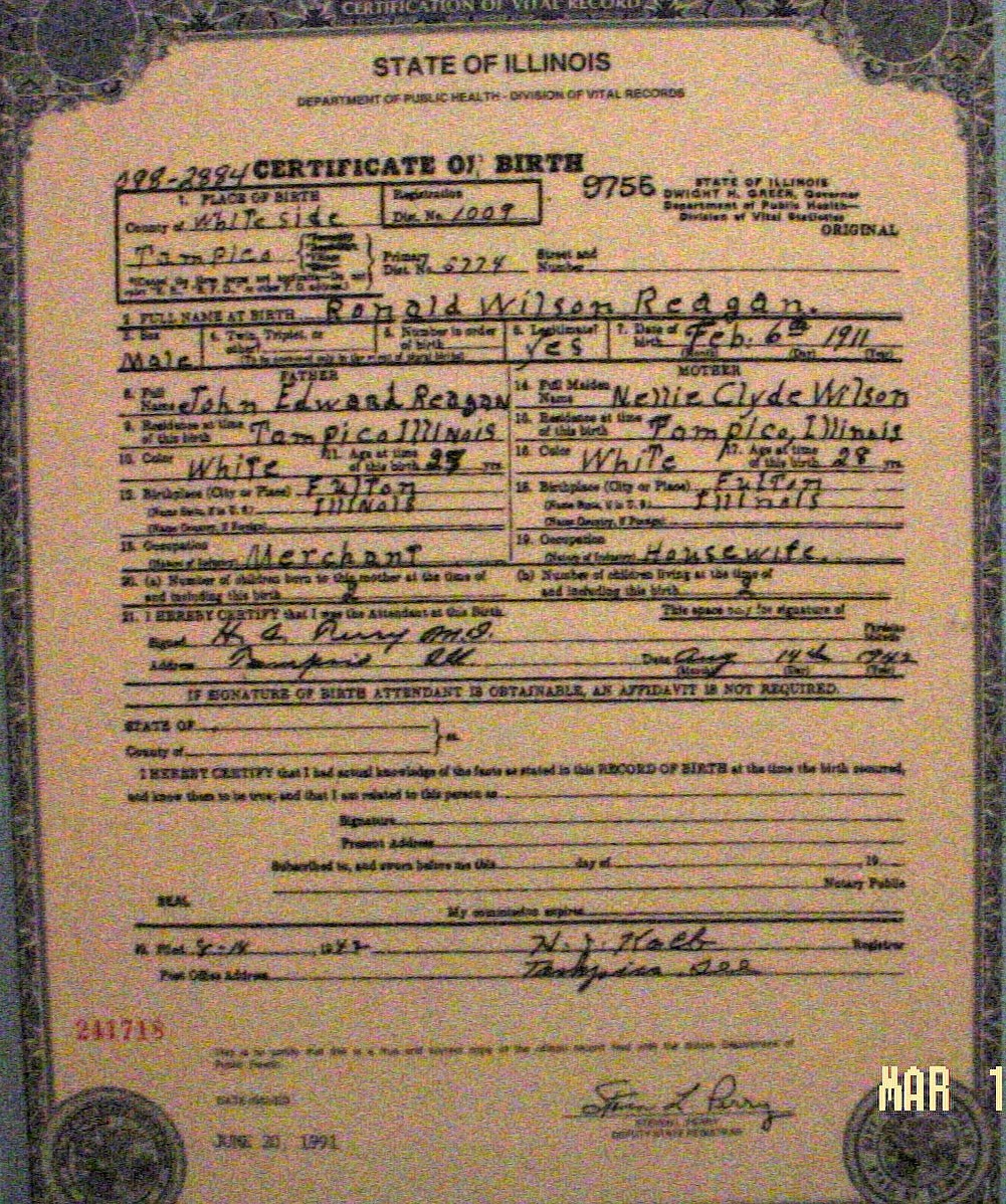 T C C Ronald Reagan Birth Certificate Invalid