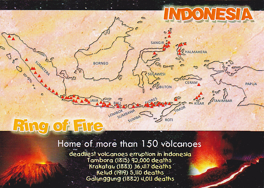 Postcard A La Carte Indonesia Ring Of Fire Map Of 150 Volcanoes