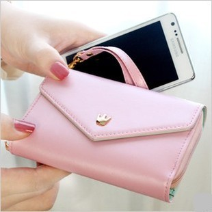 Lady Crown Pouch Purse Wallet Case For iPhone 4 4S MP4 MP5 Galaxy S2 S3(Pink)
