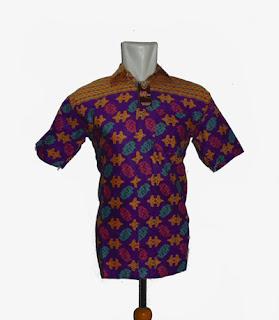 baju batik kantor pria ungu