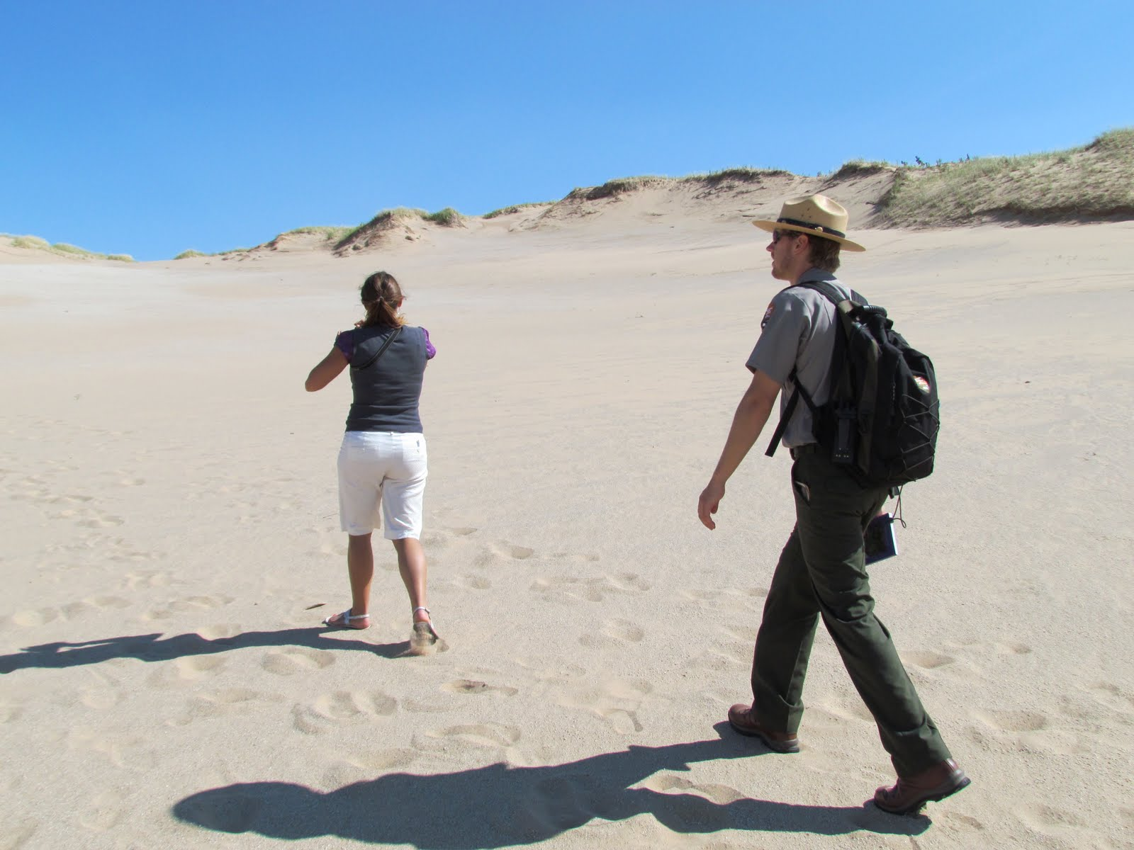 Hiking the Sleeping Bear Dunes with Park Ranger (photo by J. Schechter)