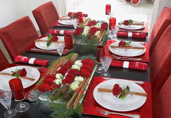 Decoraci n de mesa navide a con rosas especial de - Mesa navidena ...
