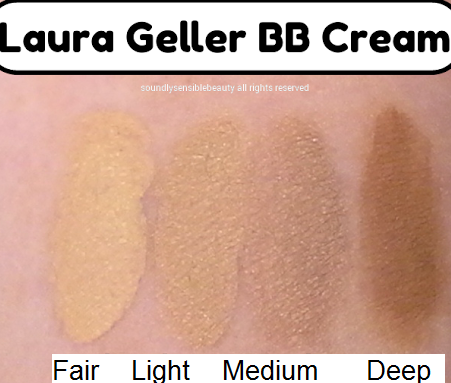 Laura Geller BB Cream, All-in-1 Skin Perfecting Beauty Balm SPF 21; Review & Swatches of Shades  Fair, Light, Medium, Deep