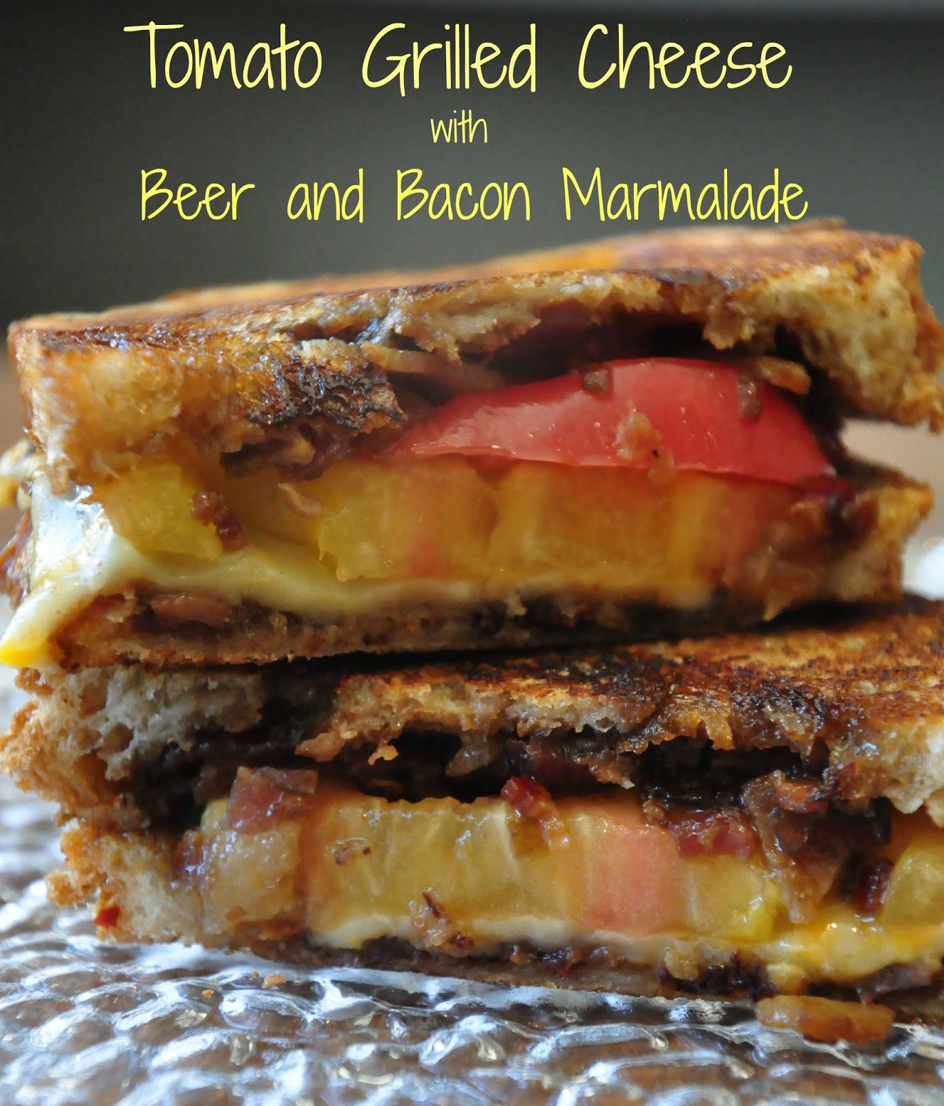 Bite Me: Tomato Grilled Cheese with Beer and Bacon Marmalade