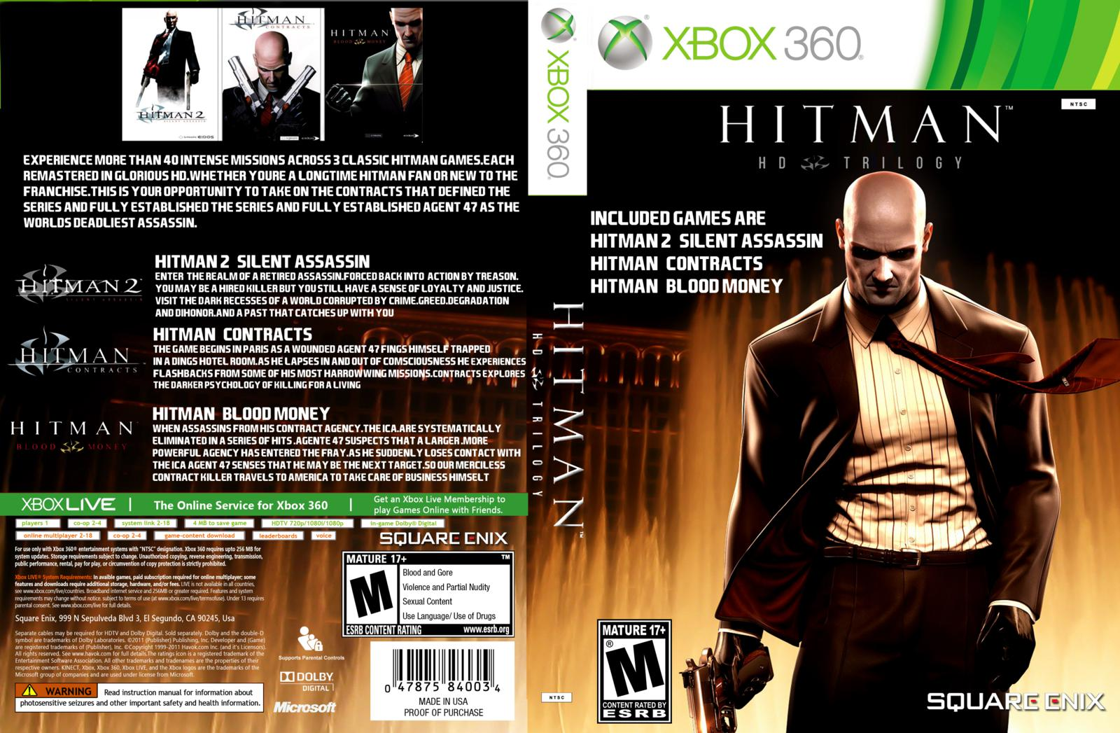 Capa Hitman HD Trilogy Xbox 360
