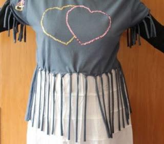 Seni menggunting kaos model Rumbai / Pita untuk Tshirt