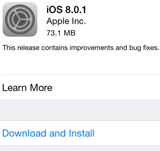 Apple iOS 8.0.1 (12A402) Firmware Update