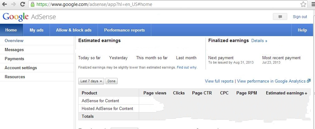 After logging in to your account , click on the performance reports