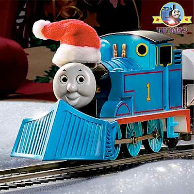 Dressed in cheerful red and white Christmas Santa Claus hat Thomas the Train scale model HO Bachmann