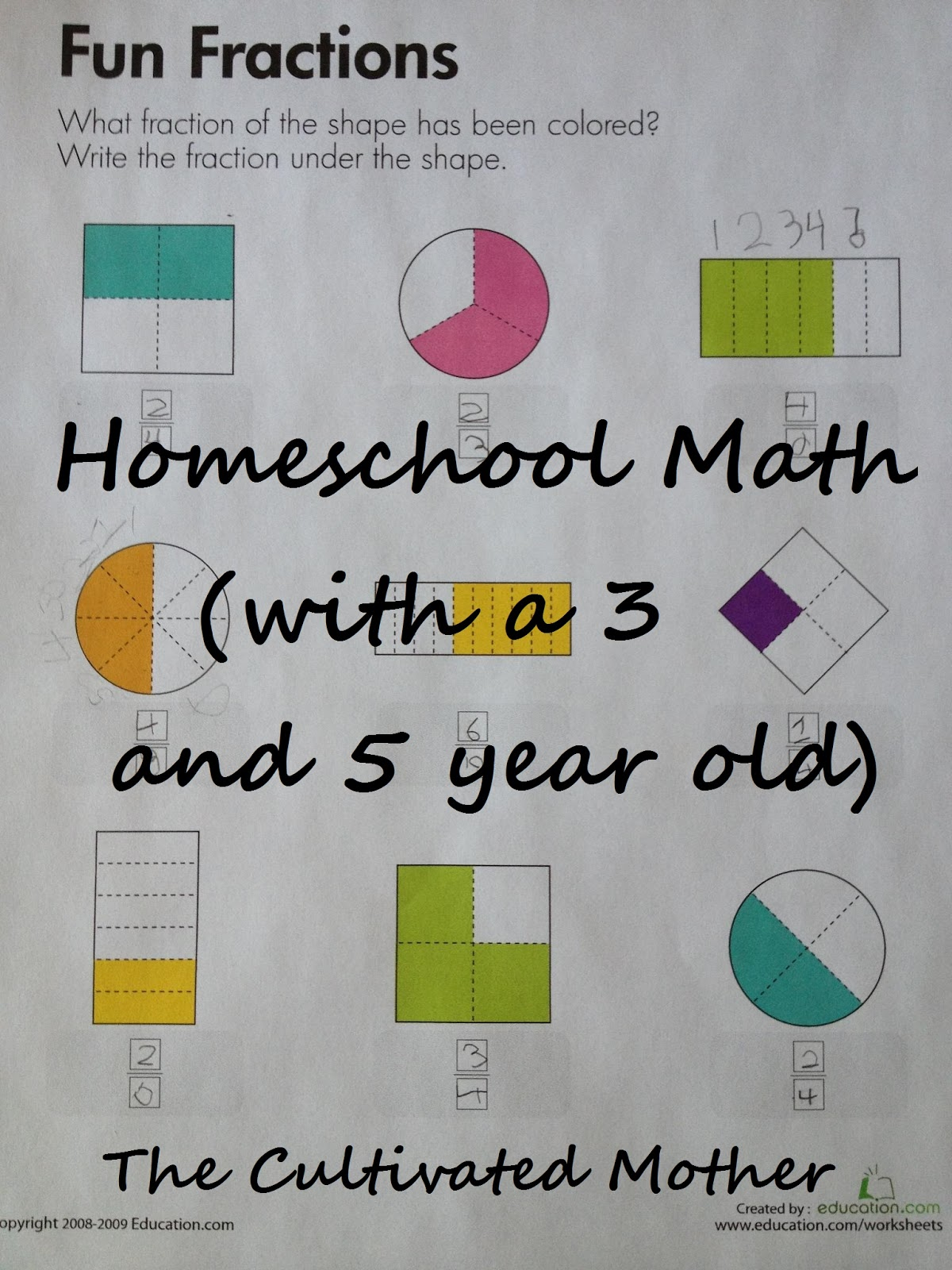 The Cultivated Mother: Homeschool Math (with a 3 and 5 year old)