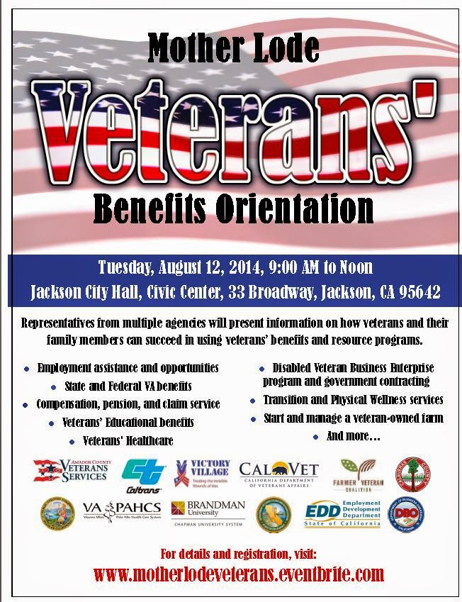 Mother Lode Veterans' Benefits Orientation - Tues Aug 12