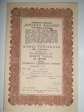 """Obkigasi """" SERIKAT DAGANG"""" Denpasar tahun 1950an. TERJUAL / SOLD"""
