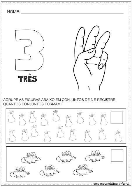 Organizando em Conjuntos Numeral 3 e 5 Atividades