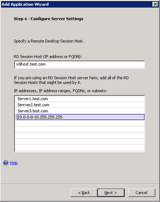 UAG rule VDI Server settings