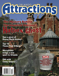 Cover of Orlando Attractions Magazine showing the Hatbox Ghost standing outside the Haunted Mansion