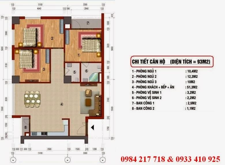 Chi tiết thiết kế căn hộ 93 m2 - chung cư CT1 Trung Văn