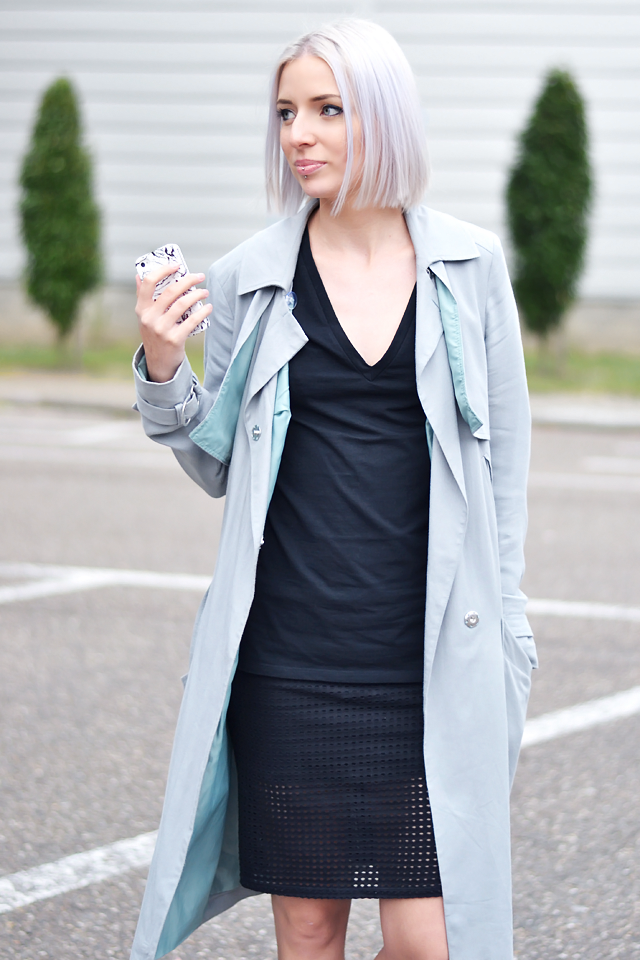 Street style outift, ootd, asos, grey, trench coat, black dress, mesh skirt, maruti footwear,  pony hair, minimal outfit, summer trends, 2015, grey hair, bob hair