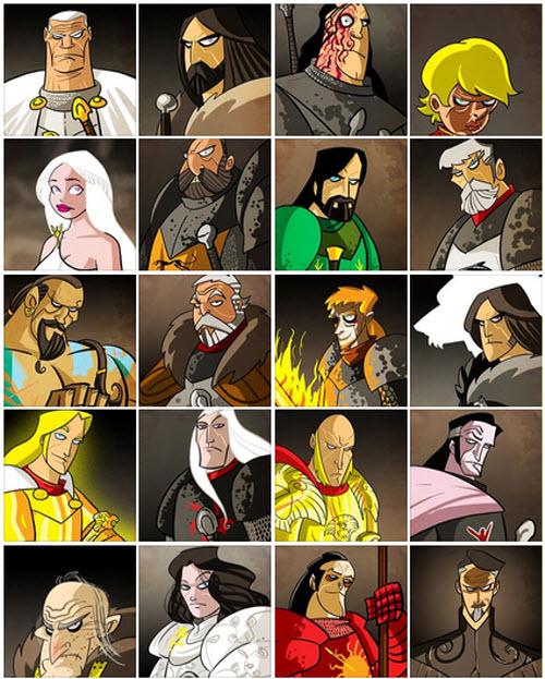 Song of Ice and Fire!: La colección más grande de caricaturas de los personajes de Game Of Thrones