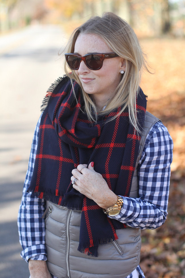 ray ban sunglasses, plaid scarf