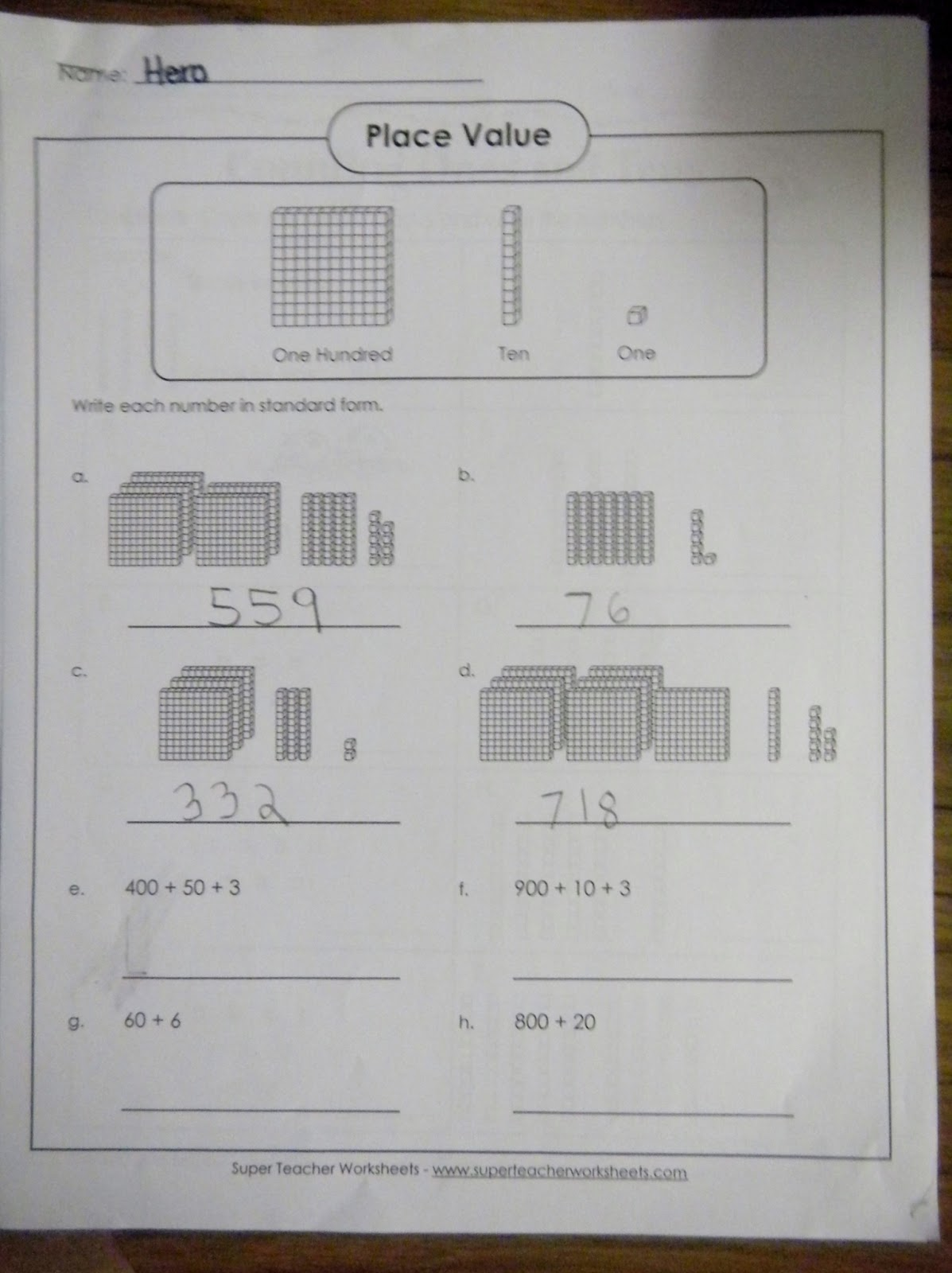 BUILD Place Value – Super Teacher Worksheets Place Value