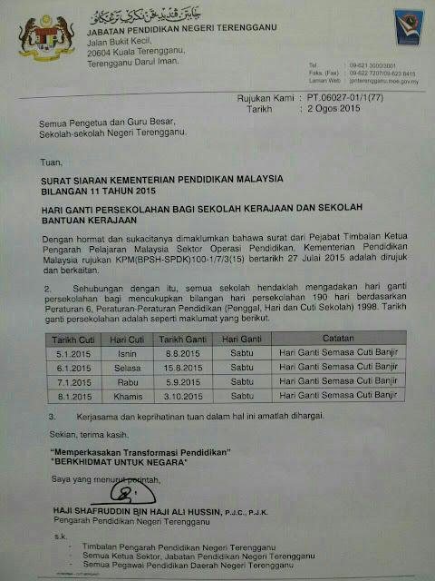 jadual hari ganti persekolahan (cuti banjir awal tahun 2015)