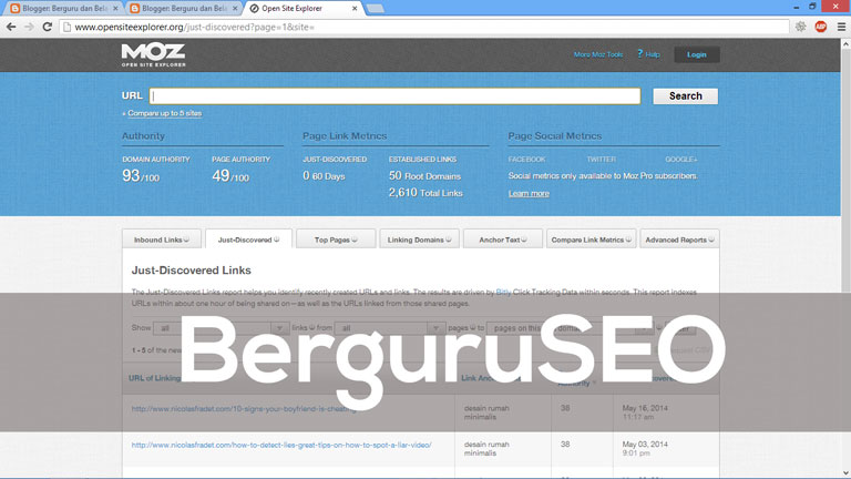 Cara Cek Backlink Web Blog dengan OpenSiteExplorer