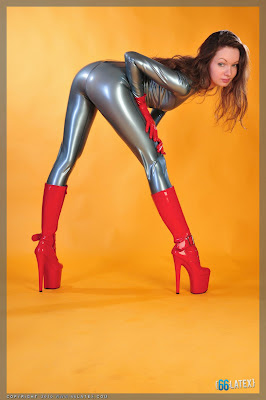 Hot Ass and Boots in Tight Shiny Latex