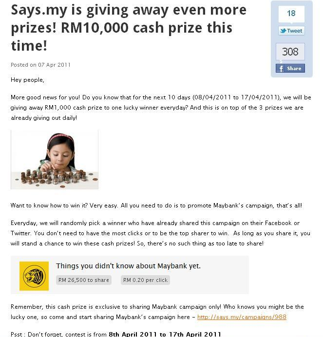won RM1000 cash prize from Maybank. Thank you Says.my!