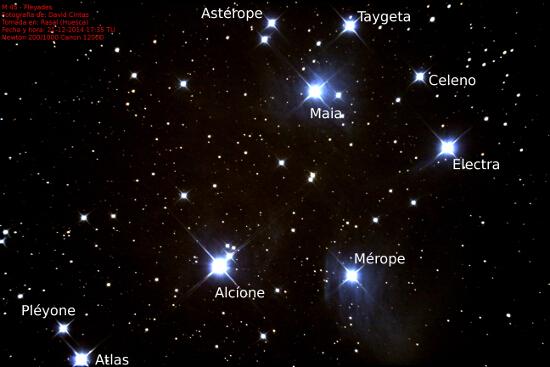 Pleyades M 45 / NGC 1432 y Nebulosa Merope NGC 1435 - El cielo de Rasal